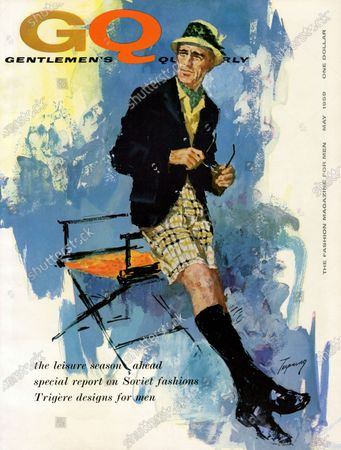 GQ May 01, 1959 Magazine Cover featuring: Illustration of model wearing sport jacket and plaid shorts by Sussex Clothes.