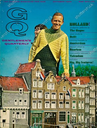 GQ October 01, 1966 Magazine Cover featuring: Model, superimposed with view of Holland, wearing mock turtleneck pullover by Gino Paoli.