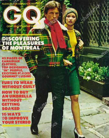 GQ October 01, 1973 Magazine Cover featuring: Couple walking in Montreal, man wearing a Gary-Mor pile-lined and collared wool -blend jacket with knit inserts.