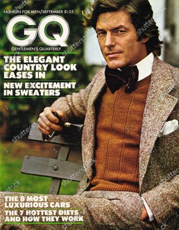 GQ September 1973 Magazine Cover featuring: Model wearing a Lanham Donegal-tweed suit, a Bill Blass round-neck sweater, a Superba bow tie, and an Alfred Dunhill shell briar pipe.