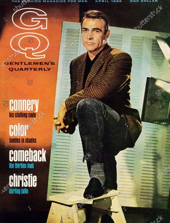 GQ April 01, 1966 Magazine Cover featuring: Actor Sean Connery wearing wide-wale corduroys, checked jacket. Sean Connery