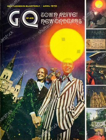 GQ April 01, 1970 Magazine Cover featuring: Model, with female model in New Orleans, wearing a boldly striped casual balzer suit with flared and pleated pants, by Raffles.
