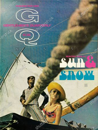 GQ December 01, 1969 Magazine Cover featuring: Winter Issue. Model on Windjammer cruise wearing cotton twill vest suit by Stanley Blacker.