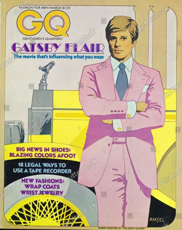 GQ March 01, 1974 Magazine Cover featuring: Illustration of actor Robert Redford dressed as Jay Gatsby, in front of a car.