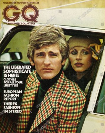 GQ September 01, 1972 Magazine Cover featuring: Couple getting out of car, male model wearing a Jaeger checked wool sport coat, matching pants, and solid dark sweater.