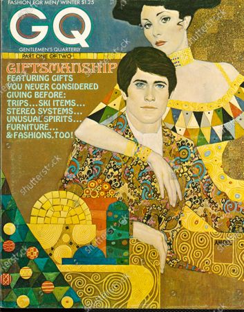 GQ December 01, 1972 Magazine Cover featuring: Illustration of couple, with man wearing an opulent John Weitz robe. Winter Part One of Two Issues.