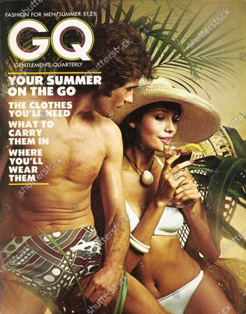 GQ June 01, 1973 Magazine Cover featuring: Couple in bathing suits, his a stretch nylon suit by Bobby Dazzler. Summer Issue.