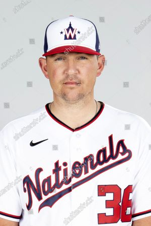 File-This is a 2021 photo of reliever Will Harris of the Washington Nationals baseball team. Harris has a blood clot in his right arm and is leaving spring training camp to be examined by a specialist, manager Dave Martinez said