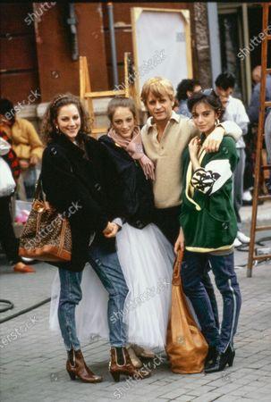 "Actors Leslie Browne, Julie Kent, and Alessandra Ferri with dancer Mikhail Baryshnikov on the set of their 1987 movie ""Dancers"" (dir. Herbert Ross). Mikhail Baryshnikov, Leslie Browne, Julie Kent, Alessandra Ferri"