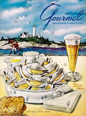 Gourmet July 01, 1955 Magazine Cover featuring: Still-life illustration of a pot of Maine steamer clams with melted butter, clam broth, crackers and a glass of beer; Maine lighthouse scene above.