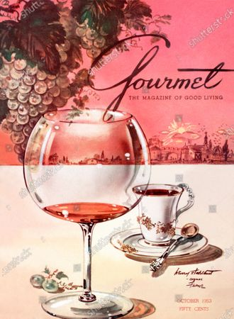Gourmet October 01, 1953 Magazine Cover featuring: Still-life illustration of a Baccarat ballon of cognac with a demitasse served as the meal's finale - the top half, a quaint town in the Cognac area, as seen from afar, at day's end and a bunch of grapes illustrated on the upper left.