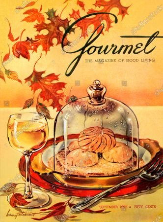 Gourmet September 01, 1953 Magazine Cover featuring: Still-life illustration of autumn leaves scattered about the table setting with a first course of mushrooms arranged on toast and sauced with cream and sweet butter served hot under an individual bell and accompanied with a glass of chablis.