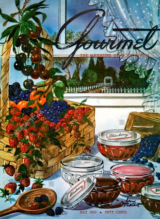 Gourmet July 01, 1953 Magazine Cover featuring: Still-life illustration of a basket overflowing with fresh fruit next to jelly jars filled with preserves and a wooden spoon; all in front of an open window with a garden view.