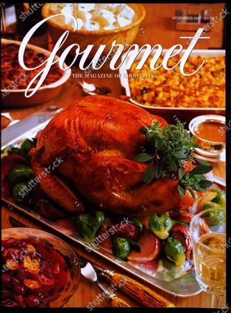 Gourmet November 01, 1997 Magazine Cover featuring: Thanksgiving dinner - roasted turkey with vegetables served on English sterling platter with various complementary dishes.