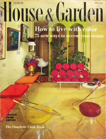 House & Garden March 01, 1960 Magazine Cover featuring: House & Garden Bodoni logo in black superimposed on a photograph of a living room designed by Eugene Tarnawa for the Robert Yungs with sharp contrasting accents from H&G's 1960 palette [which] establish a mood of gaiety and excitement against a pale, muted background. Clear plexiglas chairs face a whimsical sofa in raspberry. A white fiberglass chair and table are by Saarinen.