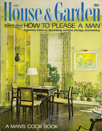 House & Garden July 01, 1963 Magazine Cover featuring: Special Issue--How to Please a Man: House & Garden Bodoni logo in blue superimposed on a color photograph of the bridge table in the morning room in the Edward Wormley designed New York apartment of Gardner and Jan Cowles--black table and chairs with caning backs; soft yellow green walls, glass shelves flank fireplace (not shown), many plants on stepped platforms; walls white with green floral drapes.