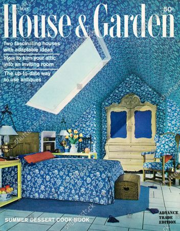 House & Garden May 01, 1963 Magazine Cover featuring: House and Garden logo in white superimposed on image of a converted attic bedroom with ceiling, walls and bedspread in matching blue and white floral print, large skylight and large armoire with blue paneled doors, at gabled end.