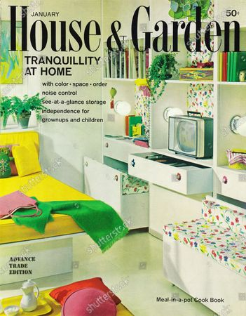 House & Garden January 01, 1963 Magazine Cover featuring: House and Garden logo in black superimposed on photo - featuring tranquillity at home - teenager's room with floral fabric wrapped, sound-absorbing backpanel for built-in along wall, designed by Emily Malino for Union Carbide Chemicals Company: white platform bed with bright, yellow cover and headboard; all white built-in along wall; pull-out benches, TV at desk-height shelf, shelf above for records and books.