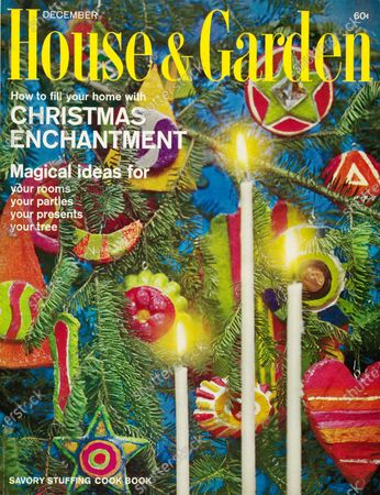 House & Garden December 01, 1966 Magazine Cover featuring: Special Christmas issue - House & Garden logo superimposed in bright yellow on photo close-up of Christmas tree with blue background: bright, bold papier-mâché ornaments with three candles in foreground.