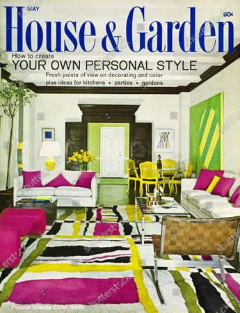 House & Garden May 01, 1967 Magazine Cover featuring: House & Garden logo in blue superimposed on photo - issue features How to create your own personal style - living room of Mr. & Mrs. O. Kelley Anderson's New York apartment, designed by Seymour La Verne and Joseph Abraham: traditional moldings and door painted black; white walls; white sofas accented with bright pink pillows; bold, abstract, geometric rug in white, black, yellow and bright: glass and steel coffee table; woven leather and steel chair.