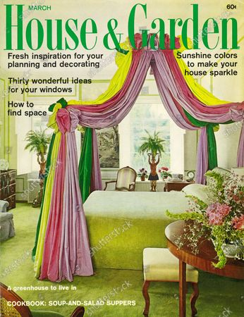 House & Garden March 01, 1967 Magazine Cover featuring: House & Garden logo in green superimposed on photo - the master bedroom in Mrs. Davies Lewis's San Francisco home, designed by Michael Taylor; features a colorful canopy; soft green bedcover; similarly colored carpet; windows on opposite wall.