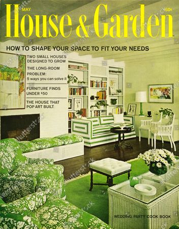 House & Garden May 01, 1965 Magazine Cover featuring: House & Garden logo in yellow superimposed on photo - featuring the living room designed by Edward M. Benesch for Mr. and Mrs. C. Gerald Goldsmith's weekend house in Purchase, N.Y.: exposed wood beams in white to match walls, dark wood floor with green rug; green with white floral print on lounge chairs and white wicker bench and coffee table; white-with green-geometric print on sofa across room; full-height, white, built-in bookcase behind sofa.