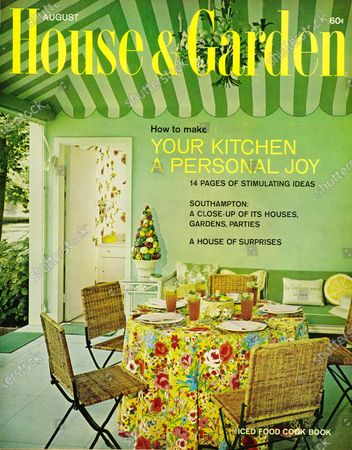 House & Garden August 01, 1965 Magazine Cover featuring: House & Garden logo in yellow superimposed on photo - pool paviliion of Mr. & Mrs. Hugh Virgil Sherrill, designed by Betty Sherrill; features circus-canopy ceiling in shades of green; pale green walls, bright floral print tablecloth with wicker and steel folding chairs.