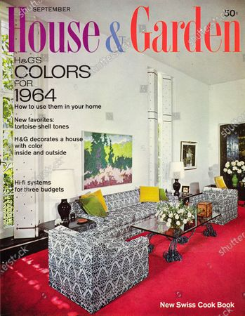 House & Garden September 01, 1963 Magazine Cover featuring: House and Garden logo in purple-blue-red superimposed on photo - features colors for 1964, showing interior designer's living room in her Beverly Hills,California house: red carpet, white walls, black-white print sofa and matching chairs, glass coffee table with iron base.