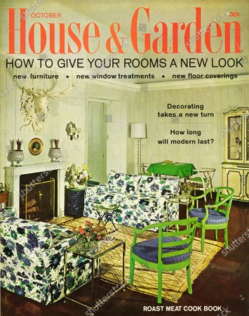 """House & Garden October 01, 1965 Magazine Cover featuring: Magazine cover featuring the garden room of Mr. and Mrs. Clive Runnells' Hobe Sound, Florida house, named """"Casa Contenta,"""" with interiors by designer (William) Billy Baldwin; The room includes blue floral print upholstered sofas, green side chairs with blue cushions, a painted cabinet on the far wall, a fireplace with Chinese porcelain pineapples on the mantelpiece, and a plaster stag above attributed to Syrie Maugham."""