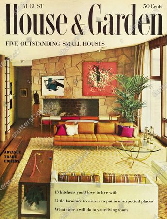 House & Garden August 01, 1959 Magazine Cover featuring: Five outstanding small houses - House & Garden logo in black superimposed on photo of living room by interior designer, Evelyn Jablow: stone faced fireplace wall with paintings by Kline, (left) and Mathieu, Calder on side table in foreground.