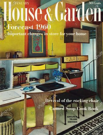 House & Garden January 01, 1960 Magazine Cover featuring: Forecast 1960 issue: White House & Garden logo superimposed on photo of study/music/guest room in a Boston townhouse designed by architect William Krokyn, and interior designer, Larry Peabody, with orange-and-gold color block stripe walls, a wall-mounted, flip-down desk unit and stereo components and a Navaho rug.