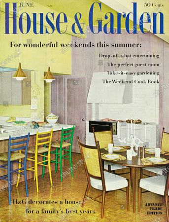 House & Garden June 01, 1960 Magazine Cover featuring: House & Garden logo in blue superimposed on photo of family room of the Mark '60 house built by Scholz Homes, Inc. in Boca Raton, Florida: compact kitchen with eating counter with bright color chairs; round dining table with white vinyl upholstered chairs from Henredon's Declaration collection; vinyl cork floor by Armstrong.