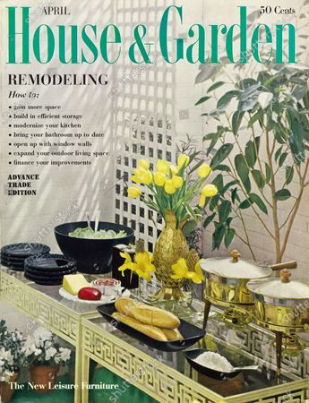House & Garden April 01, 1960 Magazine Cover featuring: Remodeling issue - House & Garden logo in green superimposed on photo of covered patio: glass and iron tables, Athenian by Birmingham Ornamental Iron Co.; black glass plates, Continental by Westmoreland Glass Co.; brass, wood and stainless steel chafing dishes.