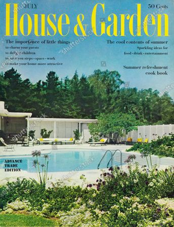 House & Garden July 01, 1960 Magazine Cover featuring: House & Garden logo in yellow superimposed on photo of pool, terrace and exterior a house in Beverly Hills, California, by architect William R. Stephenson; Lee Sharfman and Eric Armstrong, landscape architects; Violet Searcy designer: white, single-story, contemporary house, kidney shaped pool with plantings of agapanthas, agave, white and purple petunias in foreground.