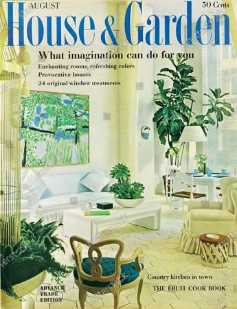 House & Garden August 01, 1960 Magazine Cover featuring: What imagination can do for you issue - House & Garden logo in blue superimposed on photo of a garden room designed by Michael Taylor taken from the San Francisco Museum of Art's recent Tour de Décors exhibit, illustrating rooms which combine artwork into their setting: Brian Wilson's Scrub Jays hanging above a white, dustruffled sofa,.