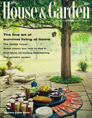 House & Garden June 01, 1962 Magazine Cover featuring: The fine art of summer living at home issue - House & Garden logo in white superimposed on photo of the terrace of the Joshua Logan's estate near Stamford, Connecticut: beneath the canopy of a large tree; a blue table with lazy Susan set for a buffet with red-orange plaid napkins; Artic Night china by Taylor, Smith & Taylor's.