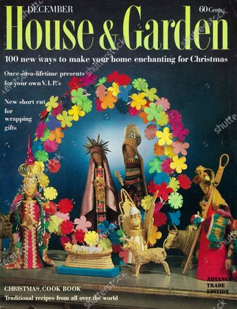 House & Garden December 01, 1961 Magazine Cover featuring: Decorating for Christmas issue - House & Garden logo in green superimposed on photo of a crèche (representation of the Nativity scene) created by H&G's Los Angeles editorial consultant, Ellen Sheridan, from various folk crafts.