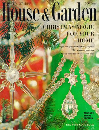 House & Garden December 01, 1959 Magazine Cover featuring: Christmas issue - House & Garden logo in black superimposed on photo close up of Christmas tree with House & Garden's Crystal Collection, various crystal decorations with green background.