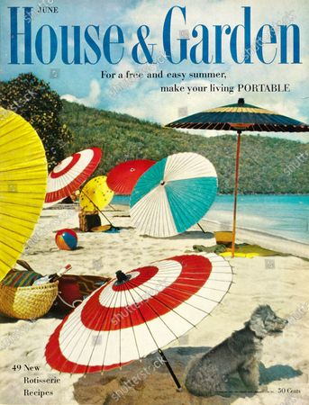House & Garden June 01, 1957 Magazine Cover featuring: House & Garden logo in blue superimposed over photo of beach with colorful Japanese umbrellas.