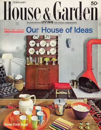 House & Garden February 01, 1962 Magazine Cover featuring: Our House of Ideas special issue - black H&G logo over photo of multipurpose room in the House of Ideas, Franklin Lakes, New Jersey, by architect Chloethiel Woodard Smith: red pre-fabricated fireplace in right corner opposite wood hutch with decorative plates; table set with popcorn, multicolor napkins, pitcher with multicolor plastic glasses.