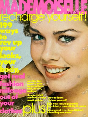 Mademoiselle February 01, 1977 Magazine Cover featuring: Debbie Dickinson wearing Max Factor makeup, wooden bangles by Cathy & Marsha for Catherine Stein, and dress by Gil Ambez for Genre. Debbie Dickinson