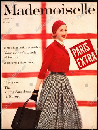 Mademoiselle March 01, 1956 Magazine Cover featuring: Model wearing a Carol Craig red jackelet and white ascot and a Charmer straw beret.