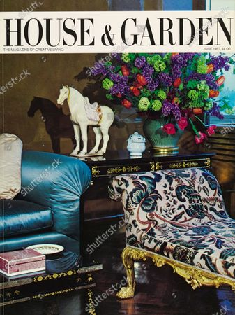 House & Garden June 01, 1983 Magazine Cover featuring: House & Garden Bodoni logo in black on a white band, superimposed on a color photograph of a the corner of a very grand New York apartment of unidentified art collectors, decorated by Mac II. Amidst great luxury, the focus is on an 8th century Tang dynasty horse; also, interesting arrangement of green and purple hydrangeas with red tulips.