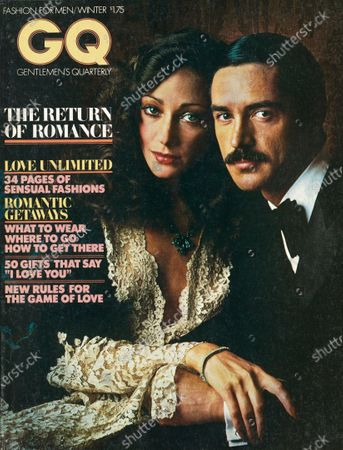 Stock Picture of GQ December 01, 1976 Magazine Cover featuring: Peach logo with photo of Marisa Berenson wearing clothes and jewelry by Lifestyle with a model who wears a double-breasted wool tuxedo, white crepe de chine shirt, and black silk bow tie all by Piero Dimitri for Dimitri Couture. Winter 1976-1977 Issue.