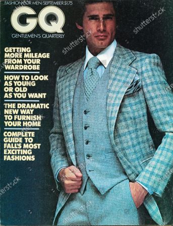 GQ September 01, 1976 Magazine Cover featuring: Offwhite logo with photo of model wearing a wool checked vest and trousers mixed with contrasting jacket by Hickey-Freeman Limited Editions, blue shirt by Lanvin, grey pocket square by Handcraft, and tie by Berkley Cravats.