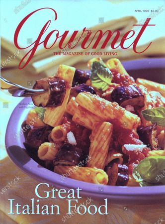 Gourmet April 01, 1999 Magazine Cover featuring: A bowl of Sicilian pasta with eggplant.