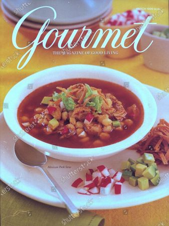 Gourmet March 01, 1999 Magazine Cover featuring: A bowl of pozole rojo, Mexican pork and hominy stew with red chiles.