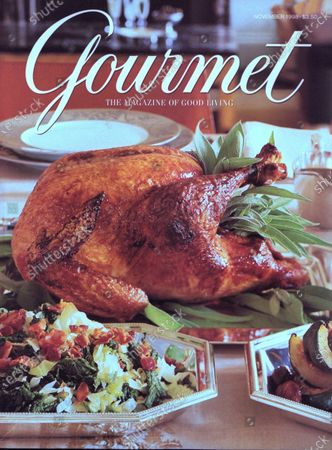 Gourmet November 01, 1998 Magazine Cover featuring: Thanksgiving in the city - a glazed turkey with sage, steamed savoy cabbage and mustard greens with bacon.