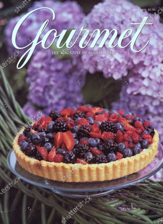 Gourmet July 01, 1998 Magazine Cover featuring: A berry tart with Mascarpone cream pictured among hydrangeas.
