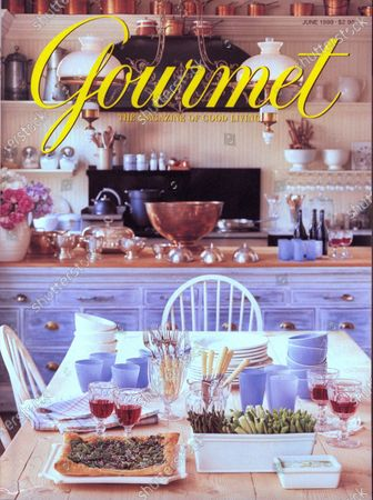Gourmet June 01, 1998 Magazine Cover featuring: Table set for Sunday dinner with broccoli rabe pizza and crudites with dip.
